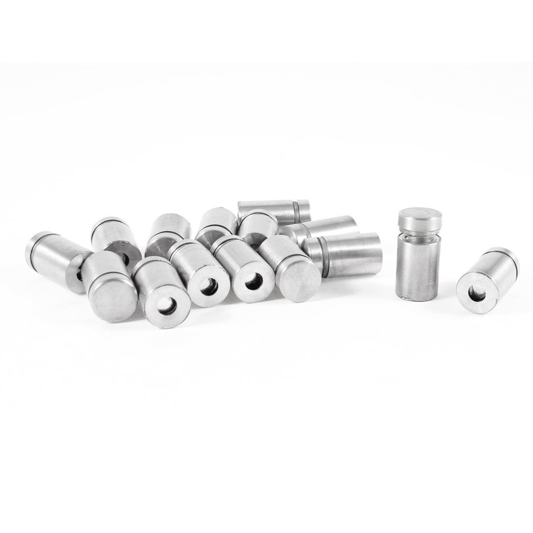 15 Pcs 12mm Dia 22mm Length Stainless Steel Advertising Nail Glass Standoff Pin