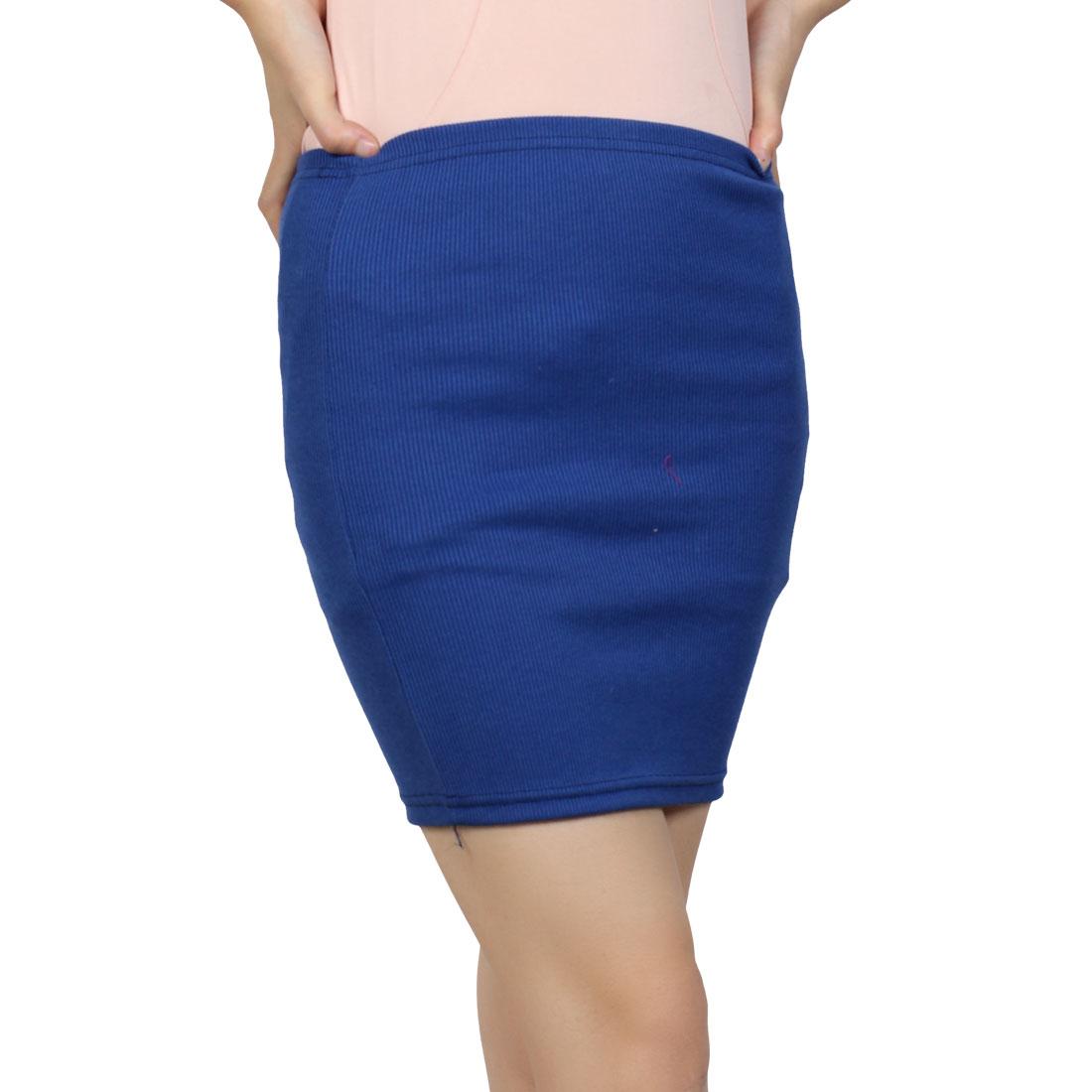 Women Indigo Blue Elastic Waist Textured Stylish Mini Skirt XS