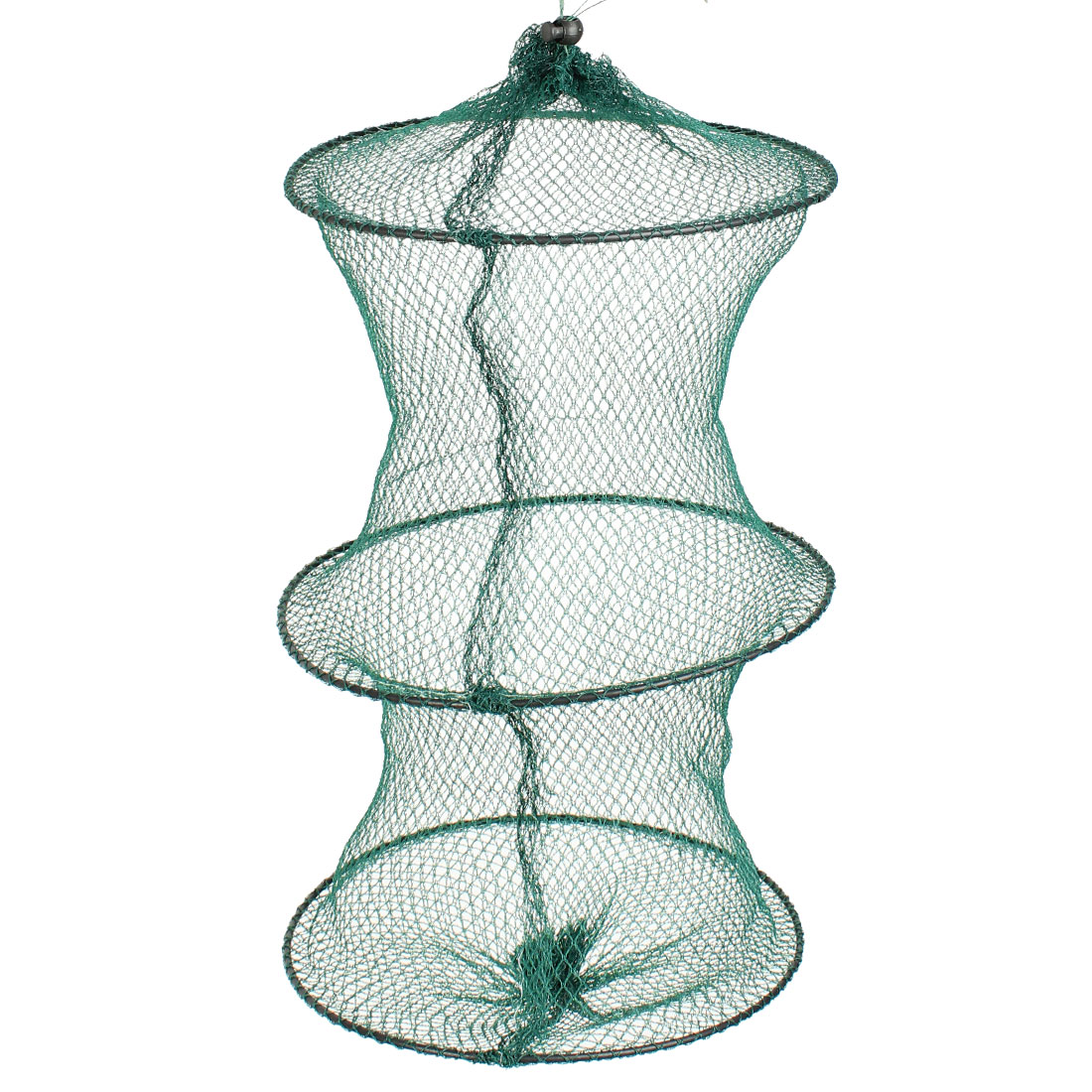 Crab Shrimp Crawfish Keep Fishing Net Tool 25cm Dia 2 Section Green