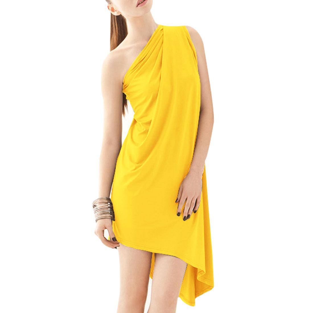 Irregular Hem Pure Yellow Stylish Mini Dress XS for Woman