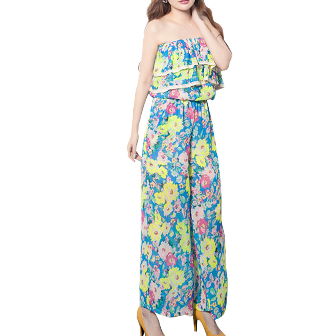 Woman Strapless Flowers Print Elastic Bust Full Length Jumpsuit Blue Yellow XS
