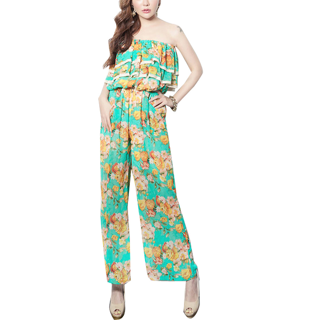Ladies Flounce Hem Detail Upper Inner Lining Long Tube Jumpsuit Green XS