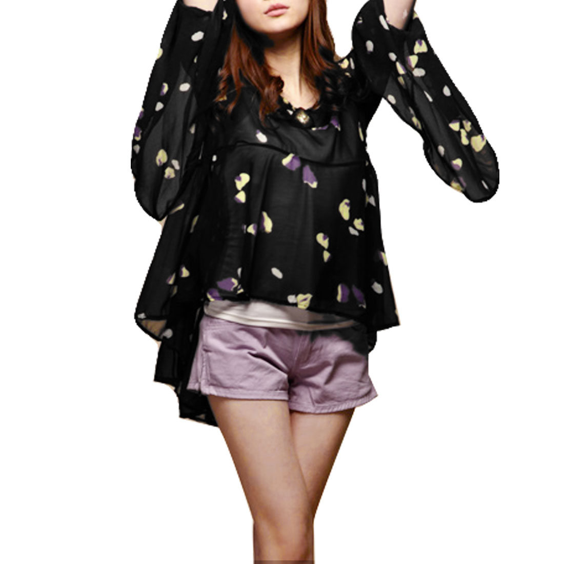 Women Scoop Neck Bell Sleeve Stylish Chiffon Blouse Black XS