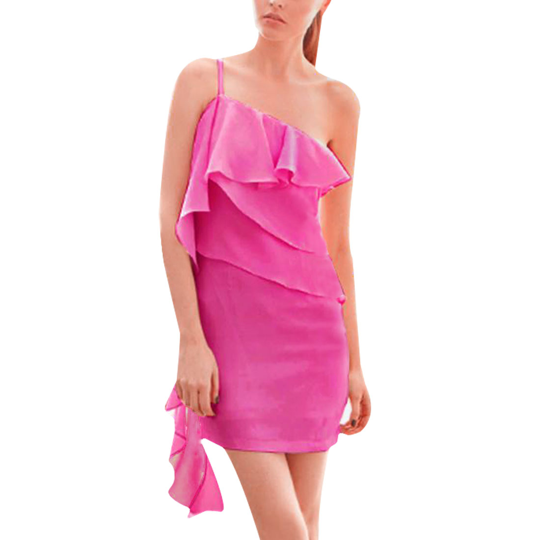 Adjustable Shoulder Strap Flounce Hem Detail Mini Dress Fuchsia XS for Ladies