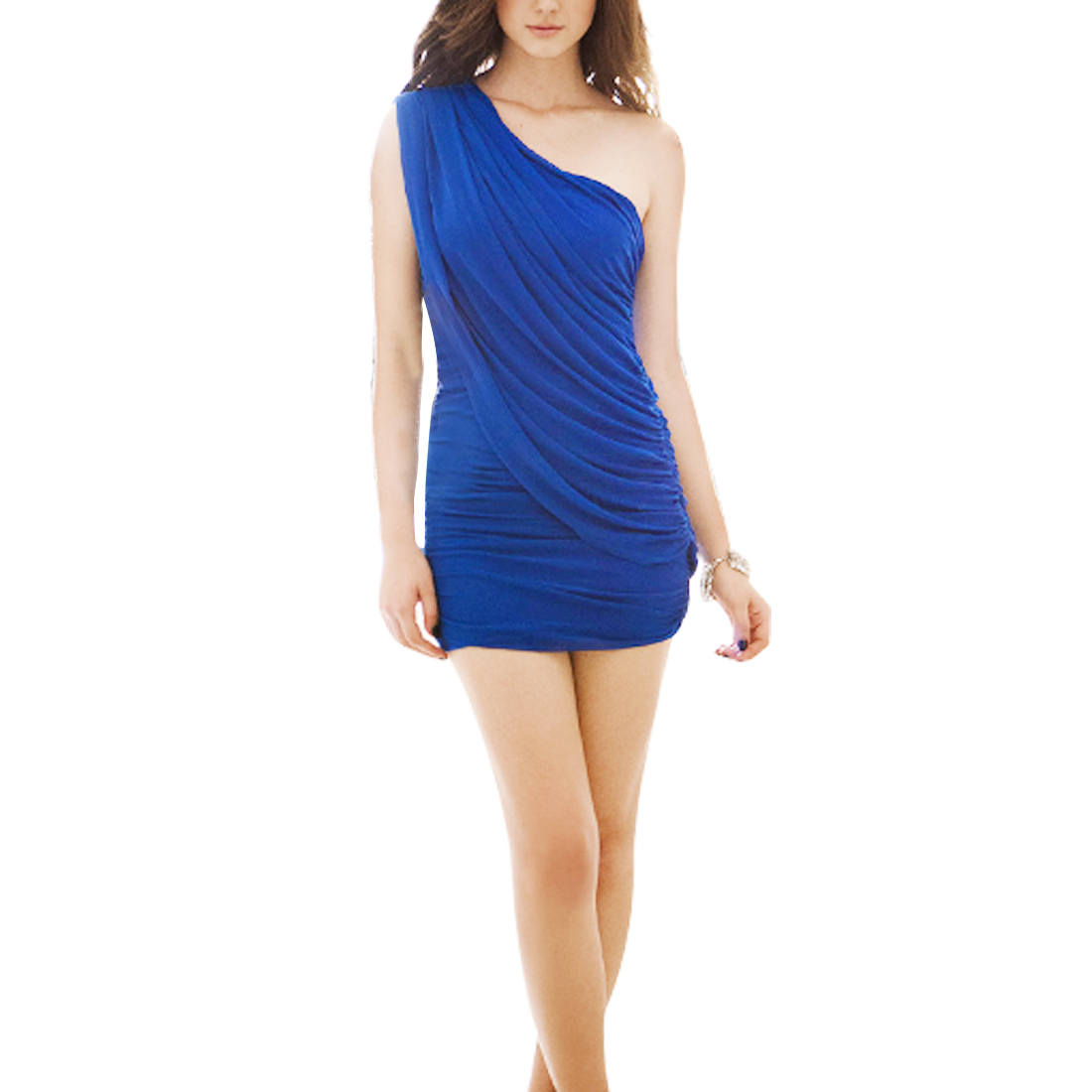 One Shoulder Solid Dark Blue Stylish Mini Dress XS for Ladies