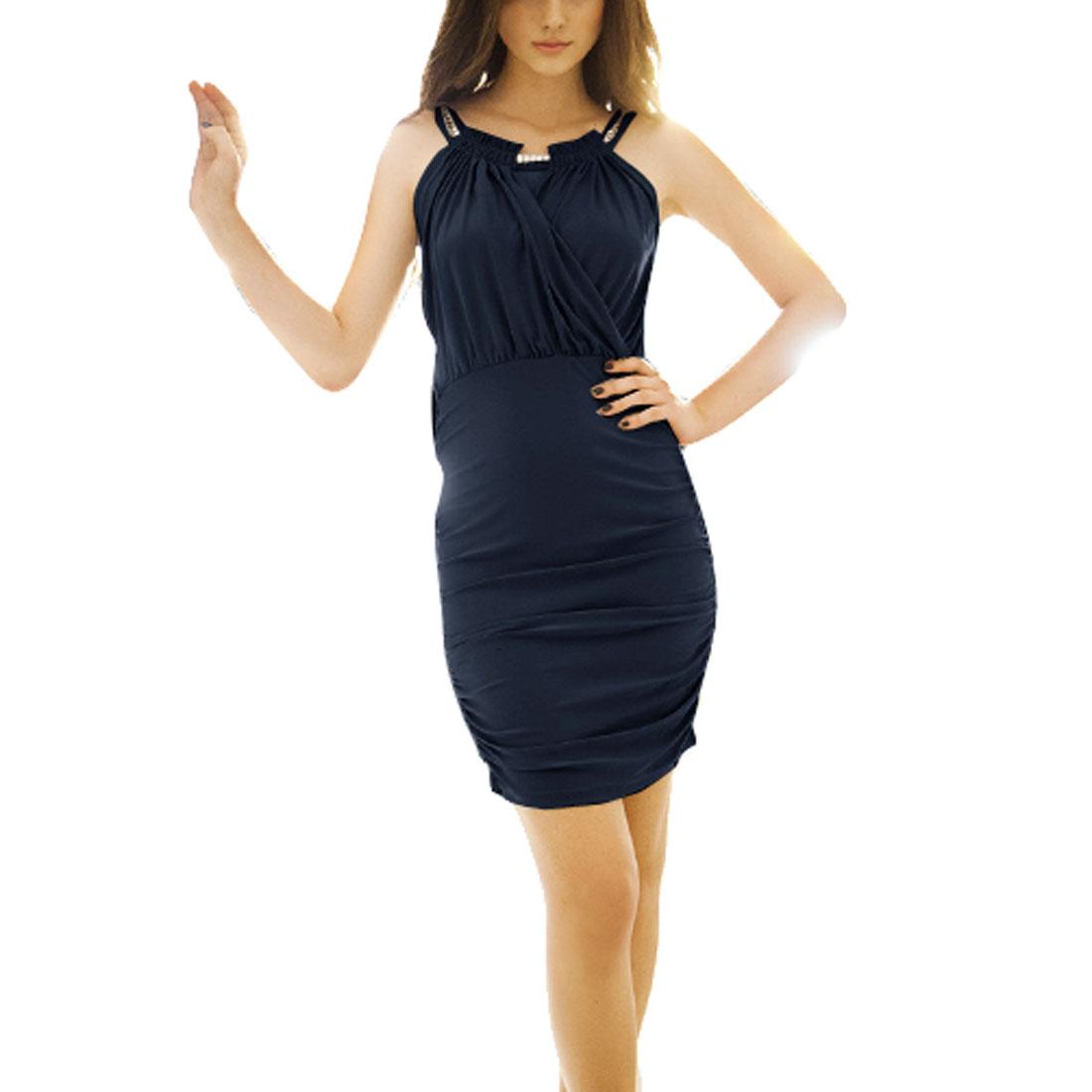 Plastic Crystals Detail Round Collar Mini Dress Steel Blue XS for Ladies