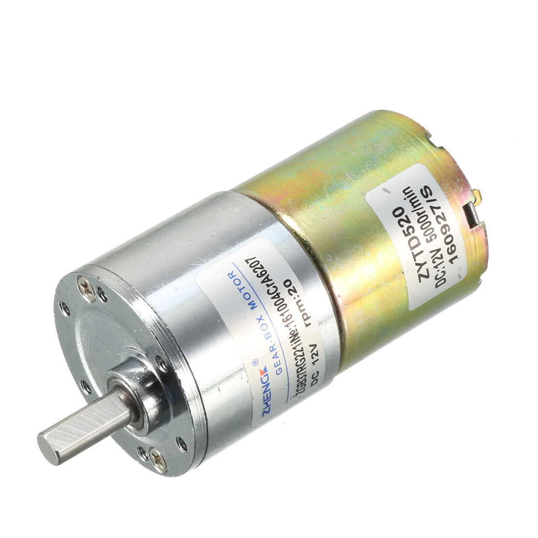 DFGB37RG-224i Cylinder Shape DC 12V Speed 20 RPM Geared Motor