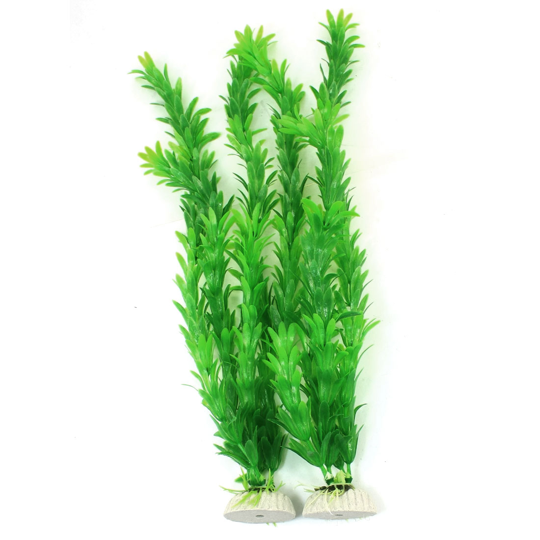 2 Pcs Green Ornament Plastic Grass Leaves Plant for Aquarium Fish Tank 35cm