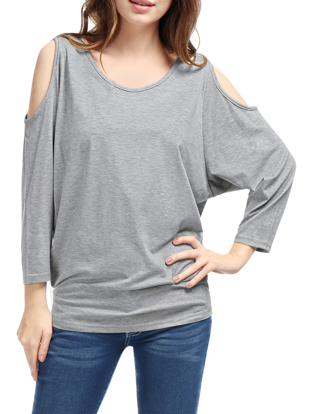 Woman Pure Gray Cutout Shoulder Batwing Sleeve Casual Top Shirt XS
