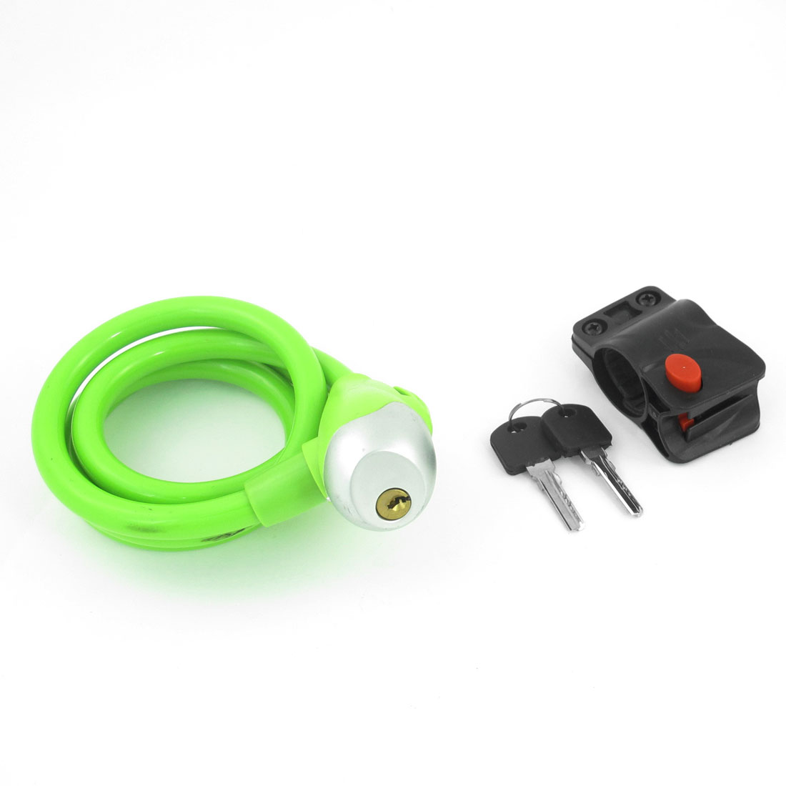 Green Plastic Coated Metal Flexible Cable Bicycle Lock w 2 Keys