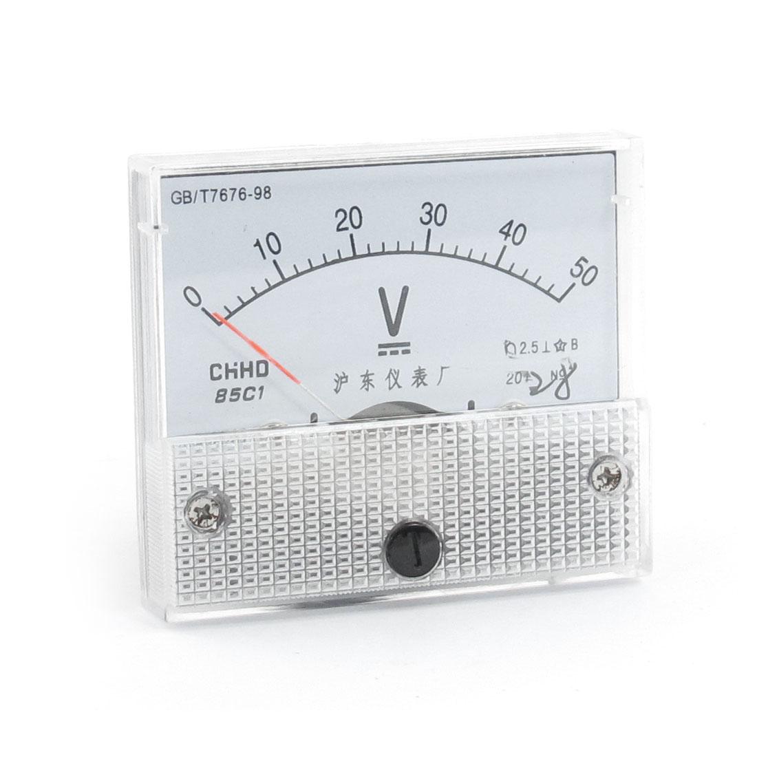 Screw Mounting Head Voltage Test DC 50V Analog Volt Meter Panel