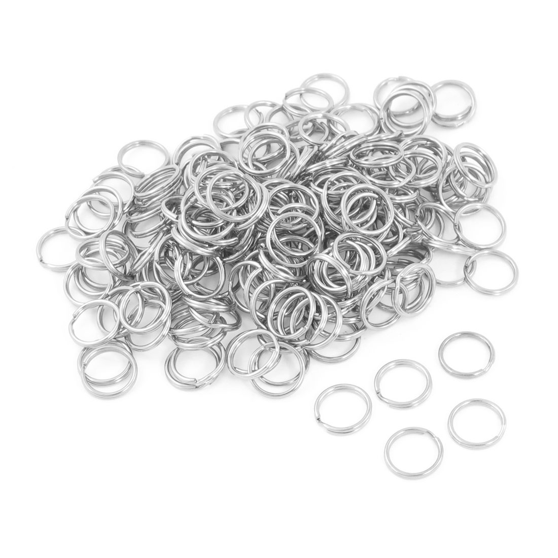 200 Pcs Silver Tone Glossy Metal Split Ring Keyring Holder Hook Chain 15mm
