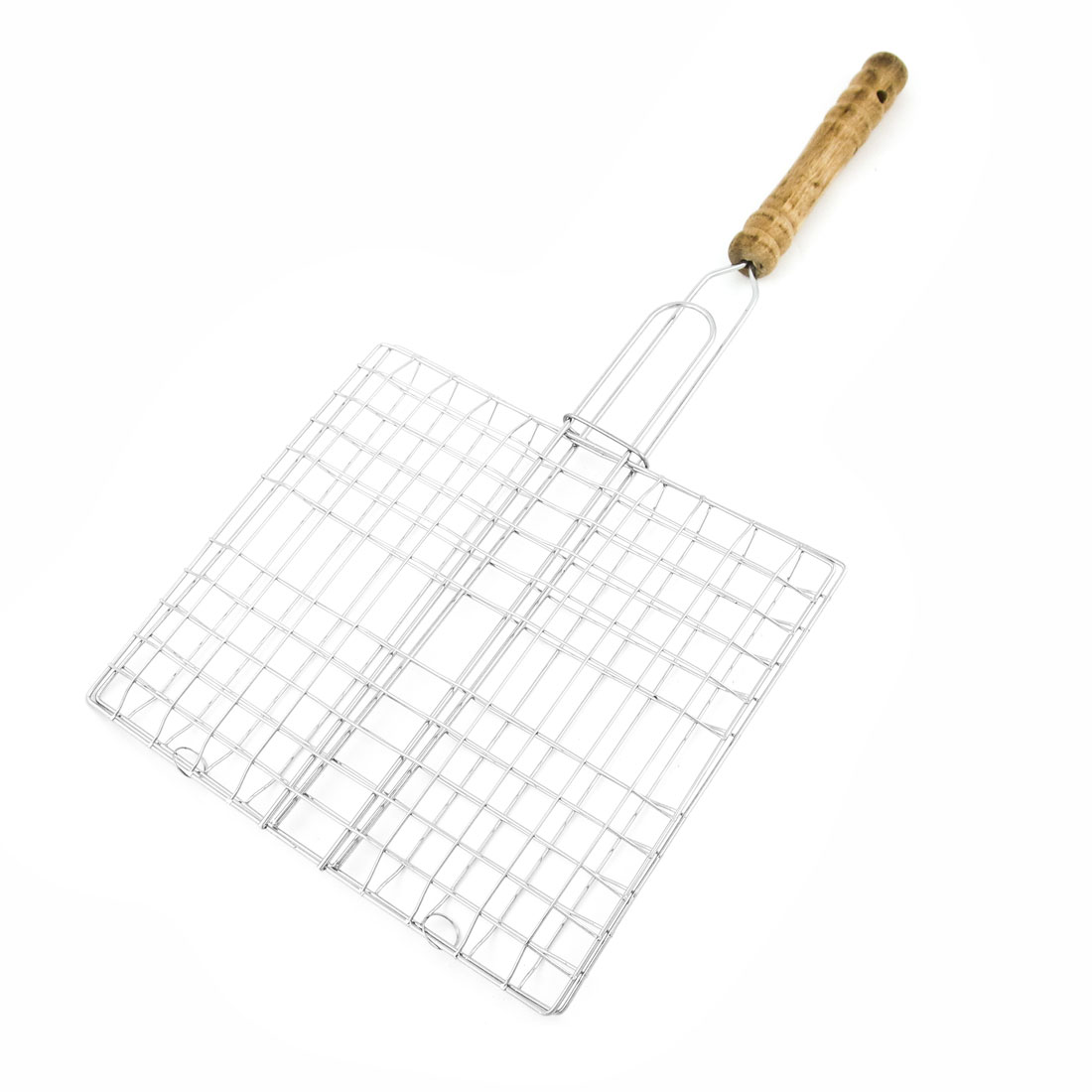 Outdoor Wooden Handle Rectangle Hollow Out Metal Mesh Barbecue Grill Net