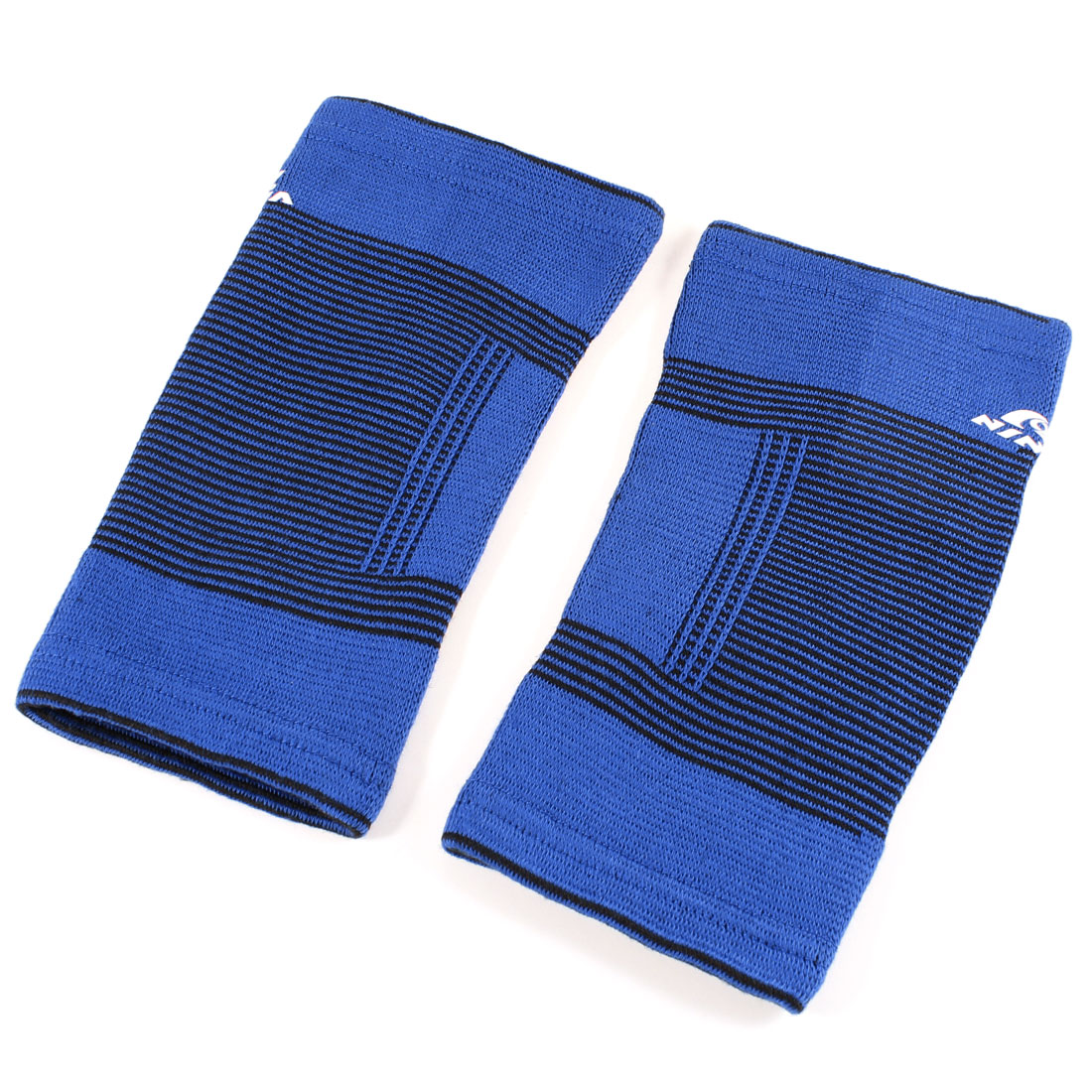 Sports Stripe Elastic Sleeve Brace Protector Guard Cover Elbow Support Blue Pair