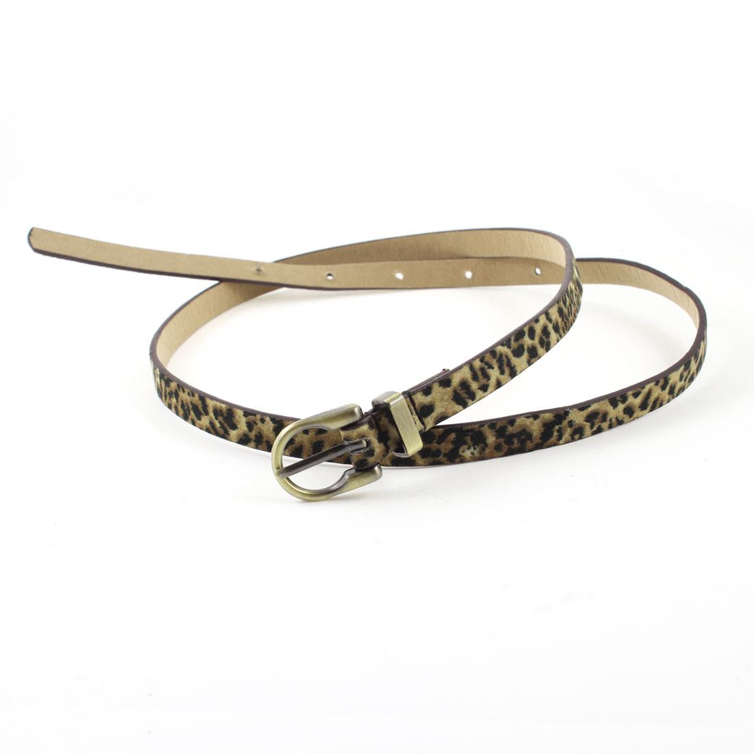 Woman Blouse Trousers Decor Leopard Pattern Faux Leather Waist Belt Black