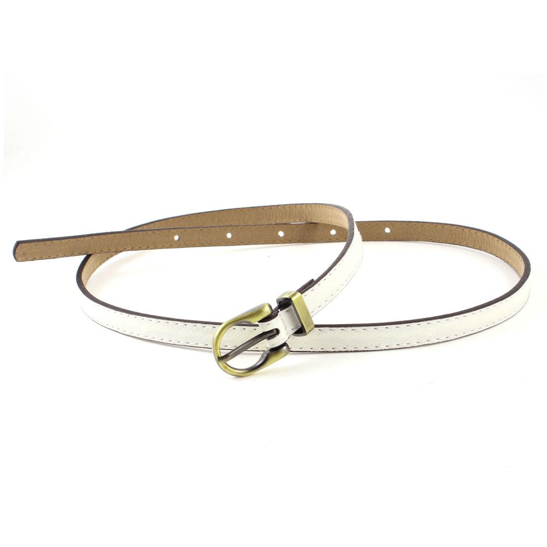 Woman Blouse Pants Decor 1.1cm Width Faux Leather Cinch Waist Belt White