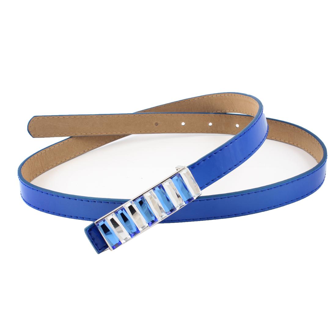 Ladies Rhinestone Strap Decor Press Buckle Faux Leather Waist Belt Royal Blue