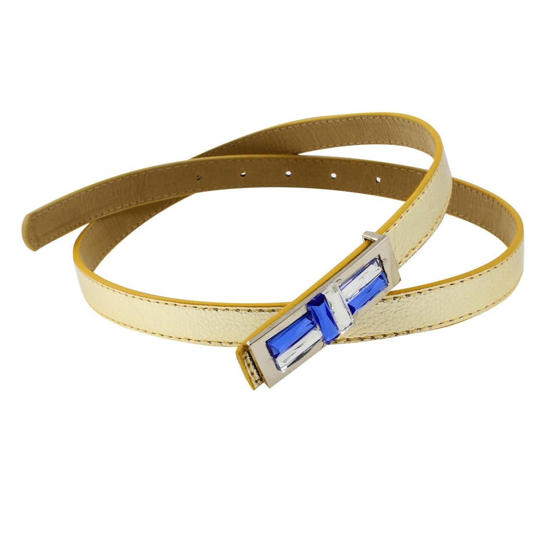 Woman Clothes Pants Decor Metal Press Buckle Faux Leather Waist Belt Gold Tone