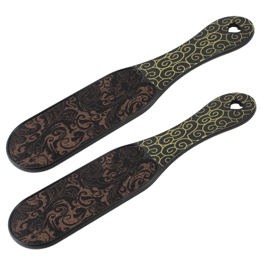 Black Plastic Handle Double Side Brown Remover Massage Foot File 2 Pcs