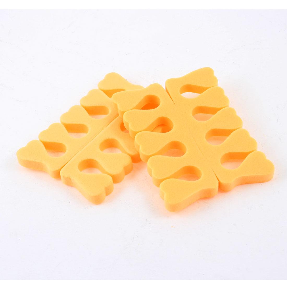 2 Pcs Nail Art Manicure Pedicure Foam Finger Toe Separator Orange