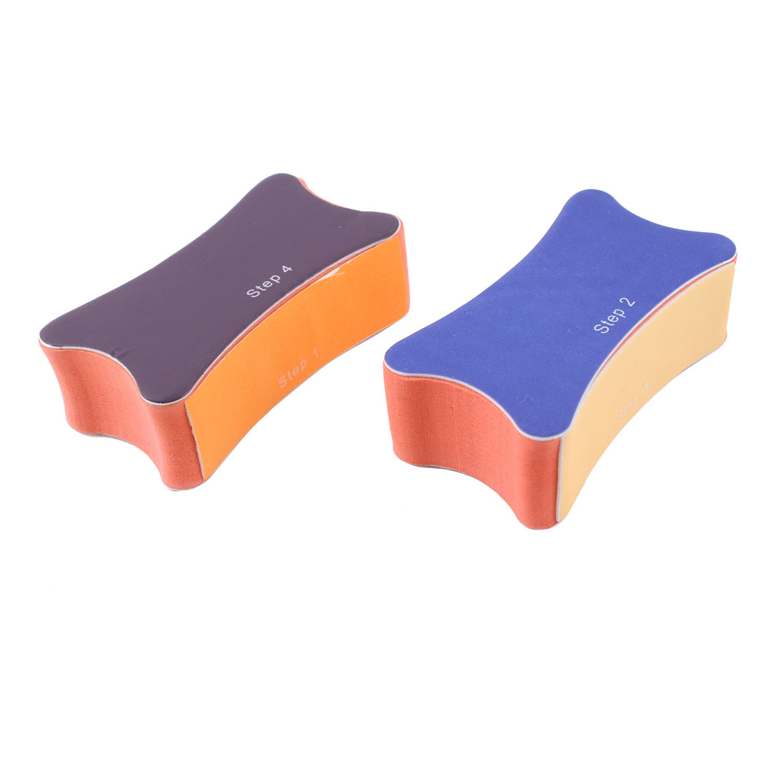 2 Pcs Beauty Tool Purple Blue Manicure Polish Shine Buffer Nail Sanding File