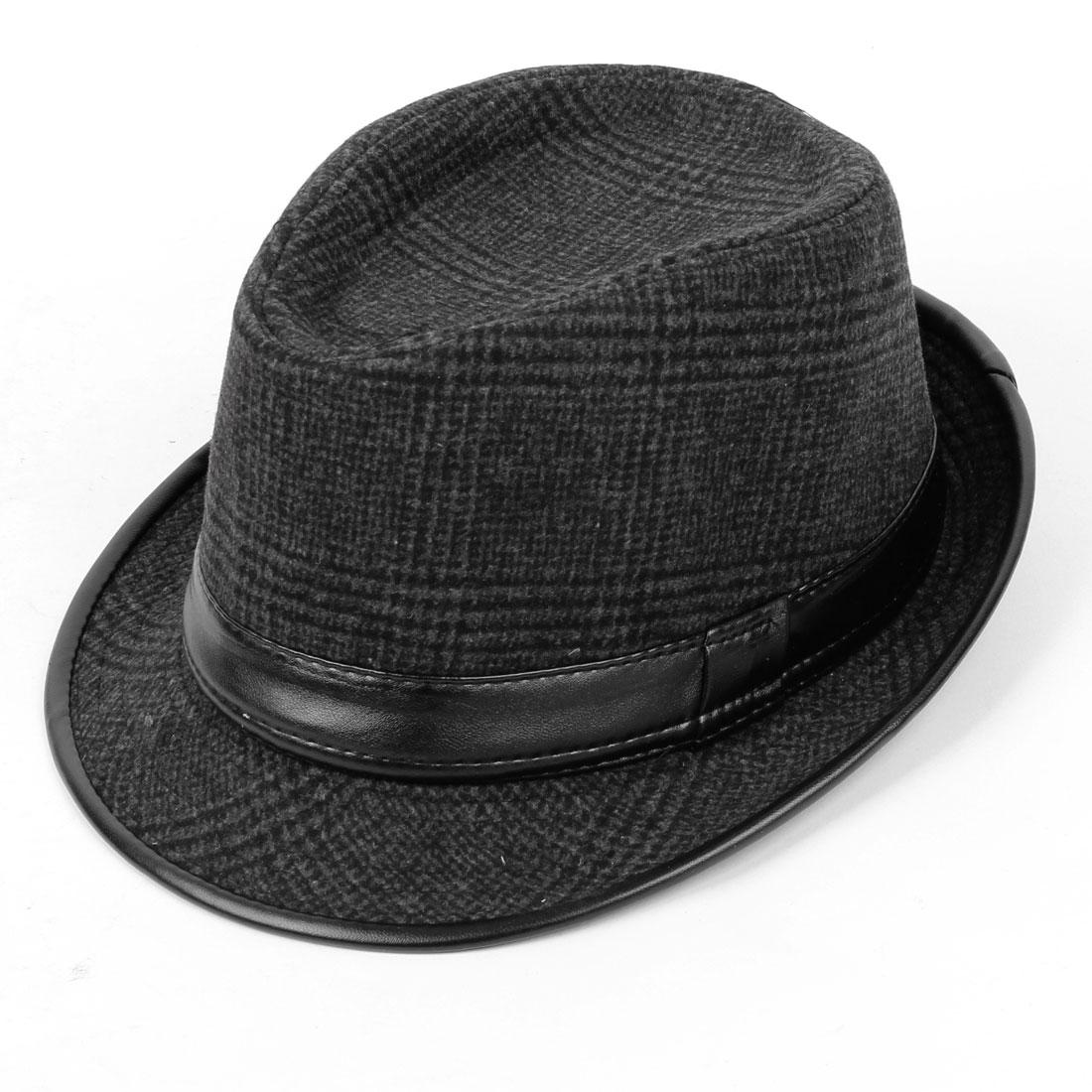 Man Faux Leather Strip Ornament Stitching Fedora Hat Dark Gray