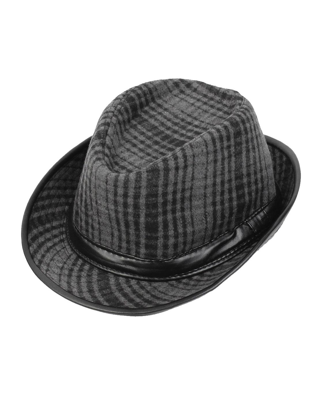 Man Faux Leather Band Decor Checker Pattern Black Gray Fedora Hat