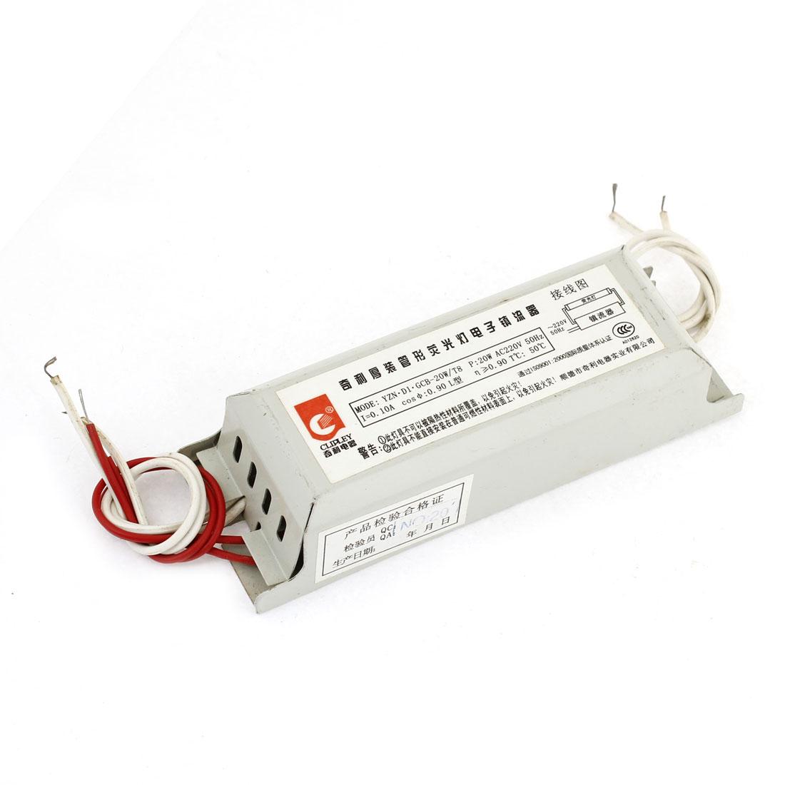 AC 220V 0.1A 20W 50Hz Gray Alloy Shell Fluorescent Light Lamp Ballast