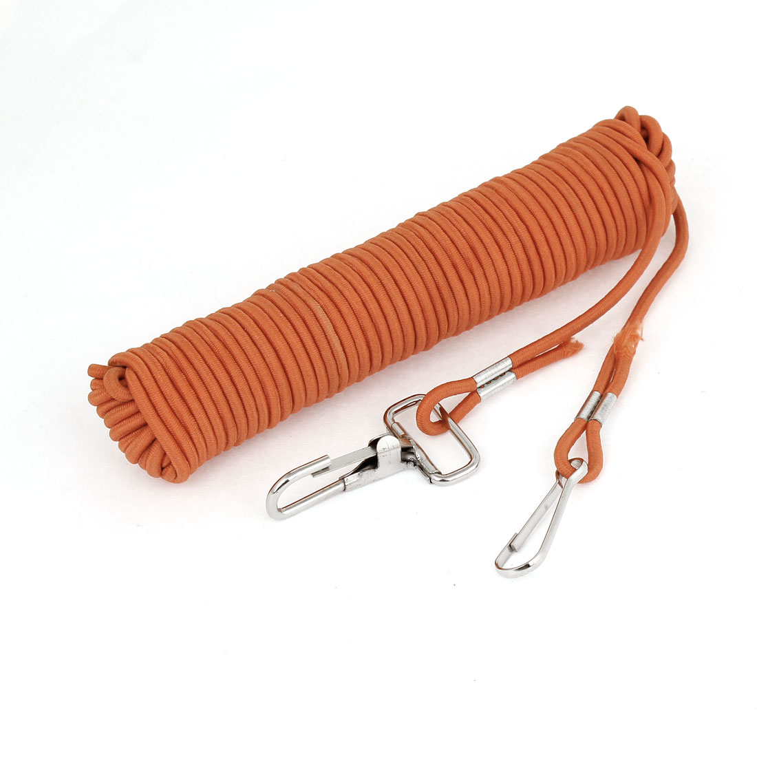 Metal Clip Hook Clasp Flexible Fishing Rope Cable 8M 26.2Ft Orange