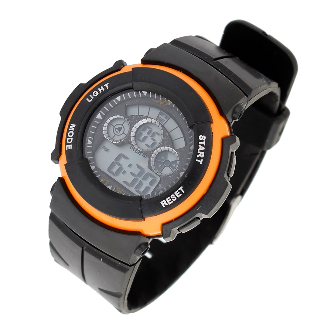 Man Hour Display Adjustable Band Stopwatch Alarm Watch Black Orange
