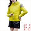 Women Detachable Knit Panel Panel Yellow Fashion Padded Jacket XS