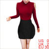 Ladies Long Sleeved Rhinestone Decor Burgundy Knit Top Shirt XS