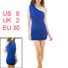 One Shoulder Solid Dark Blue Stylish Mini Dress XS for Ladies