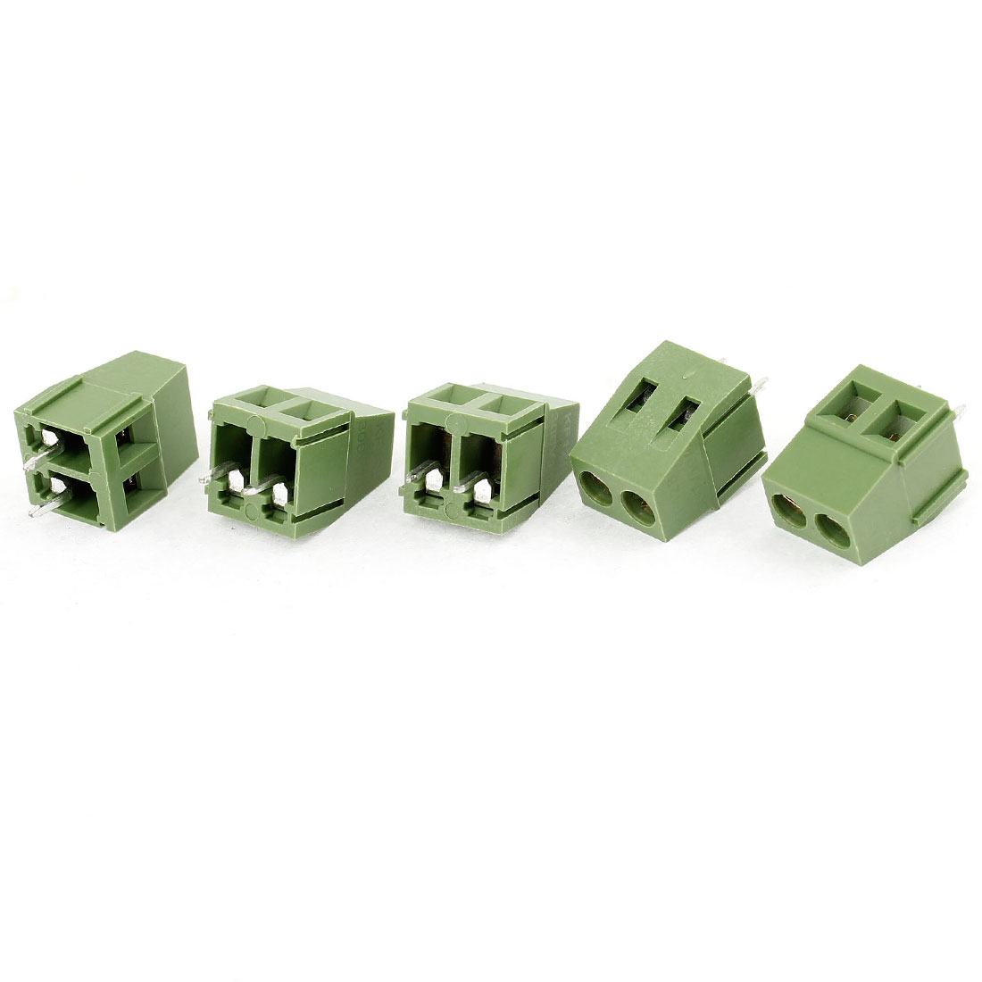 5 Pcs 2 Terminal Plastic Shell PCB Screw Terminal Block Green 300V 10A
