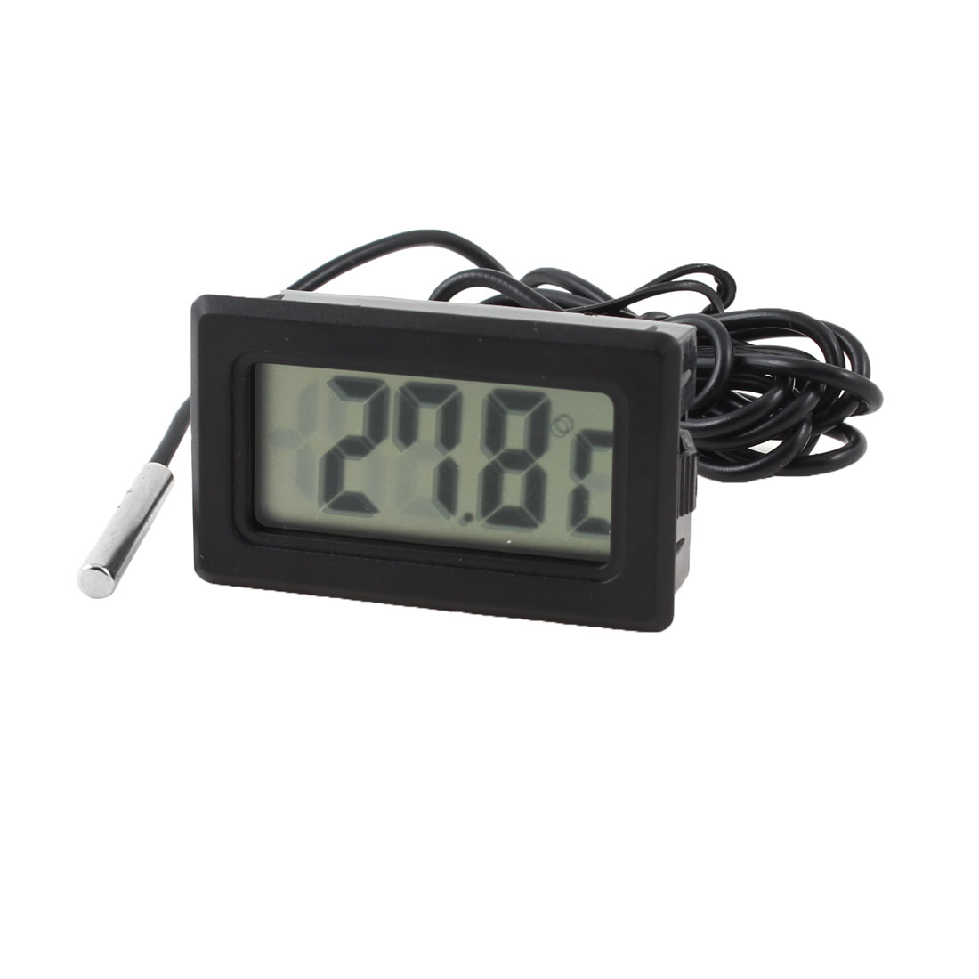 100cm Long Cable Black Plastic Housing LCD Display Digital Thermometer