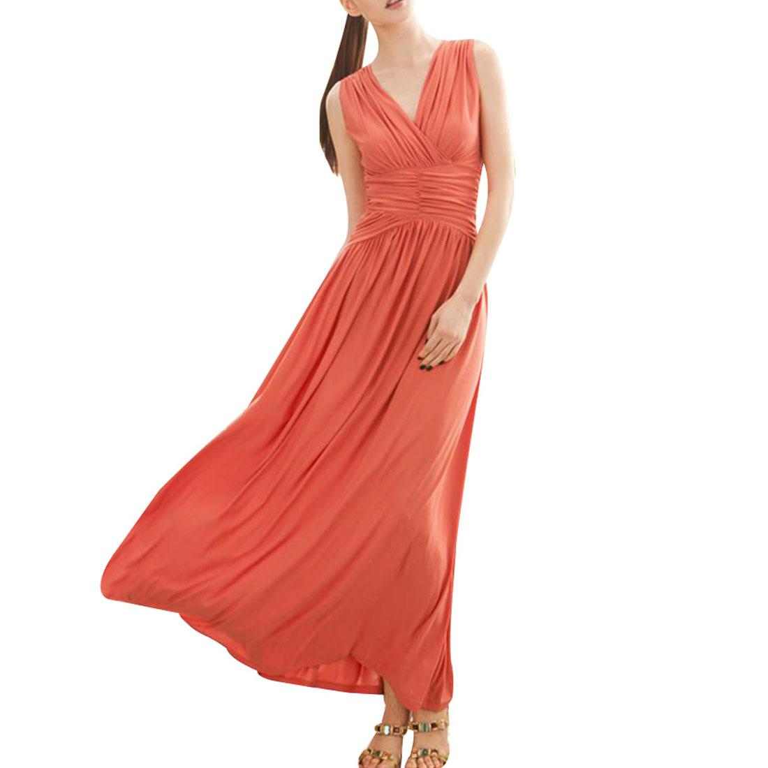 Woman Orange Red Cap Sleeve Crossover V Neck Long Dress XS