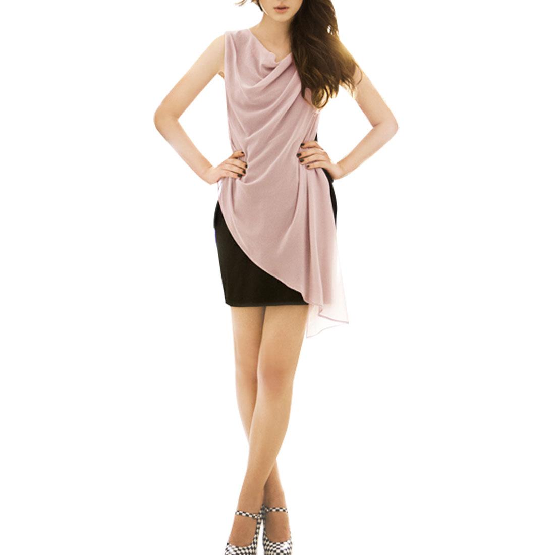 Ladies Sleeveless Two Way Wear Irregular Above Knee Dress Pink XS