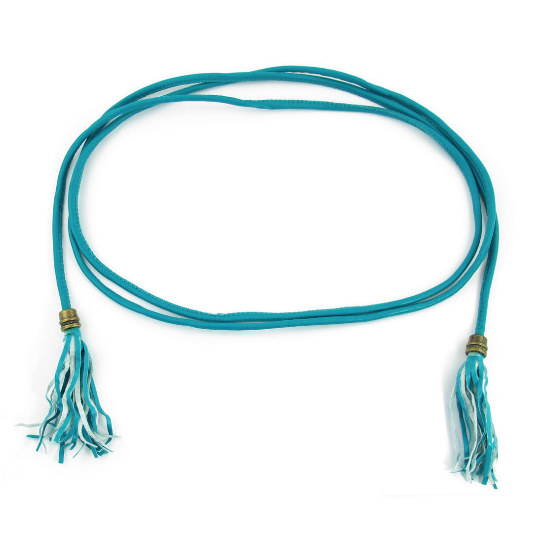 Ladies Tassels Ornament Slim Faux Leather Waistband Belt Teal