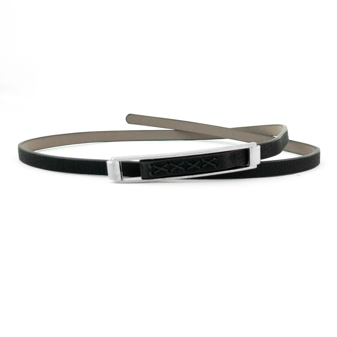 Black Faux Leather Adjustable Slim Waistband Waist Belt for Lady