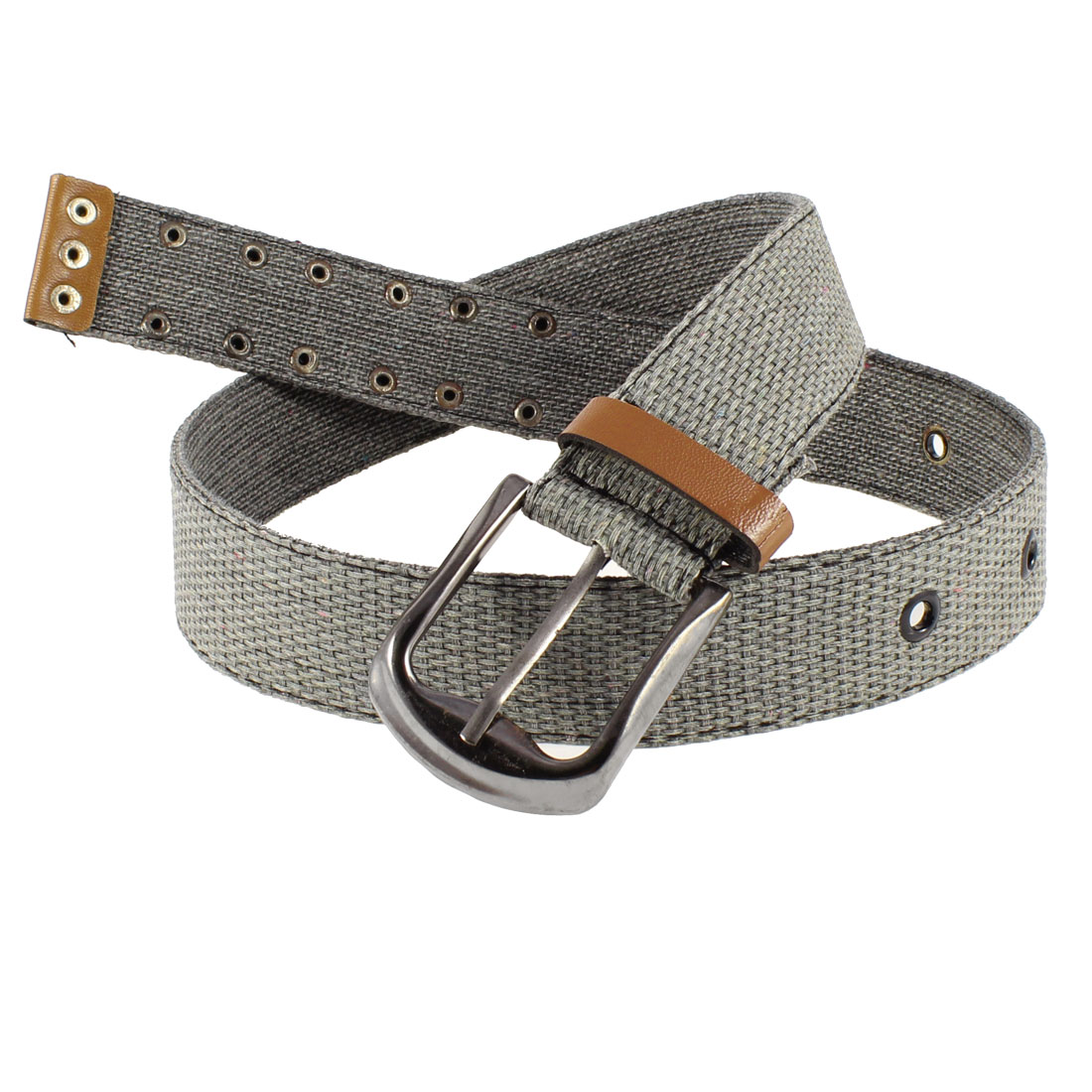 Unisex Textured Canvas Single Pin Buckle 4cm Width Jeans Belt Waist Band Dark Gray