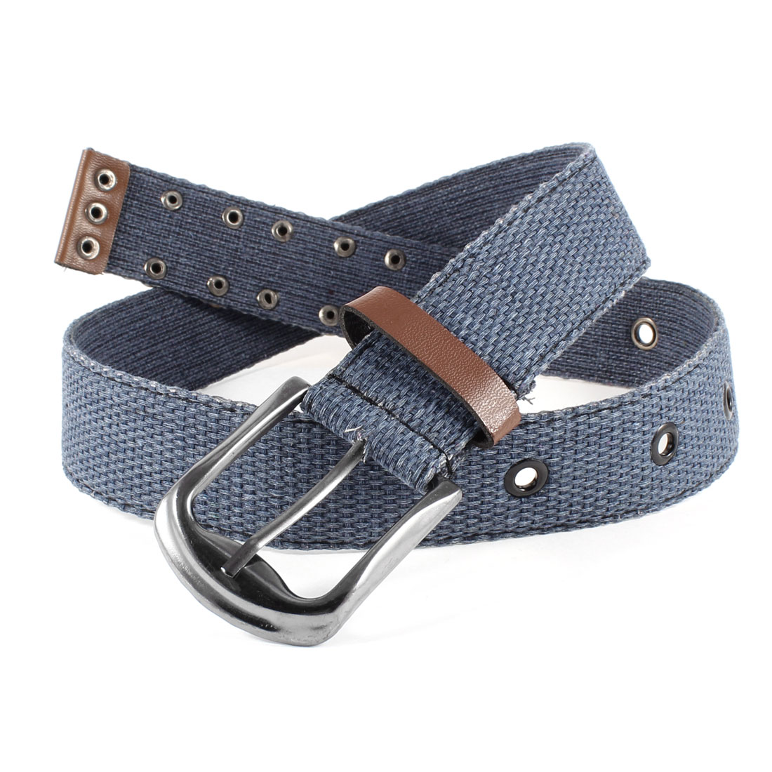 Unisex Textured Canvas Single Pin Buckle 4cm Width Jeans Belt Waist Band Navy Blue