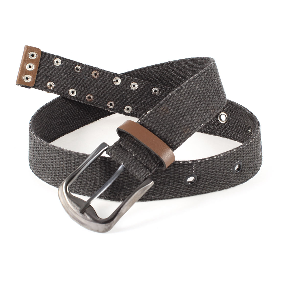 Unisex Textured Canvas Single Pin Buckle 4cm Width Jeans Belt Waist Band Coffee Color