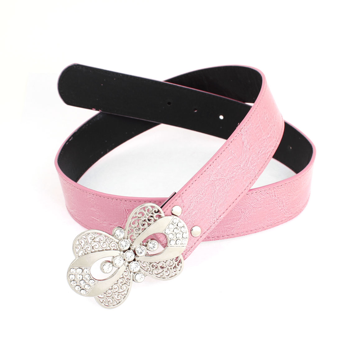 Woman Butterfly Accent Press Buckle Faux Leather Belt Adjustable Waistband Pink