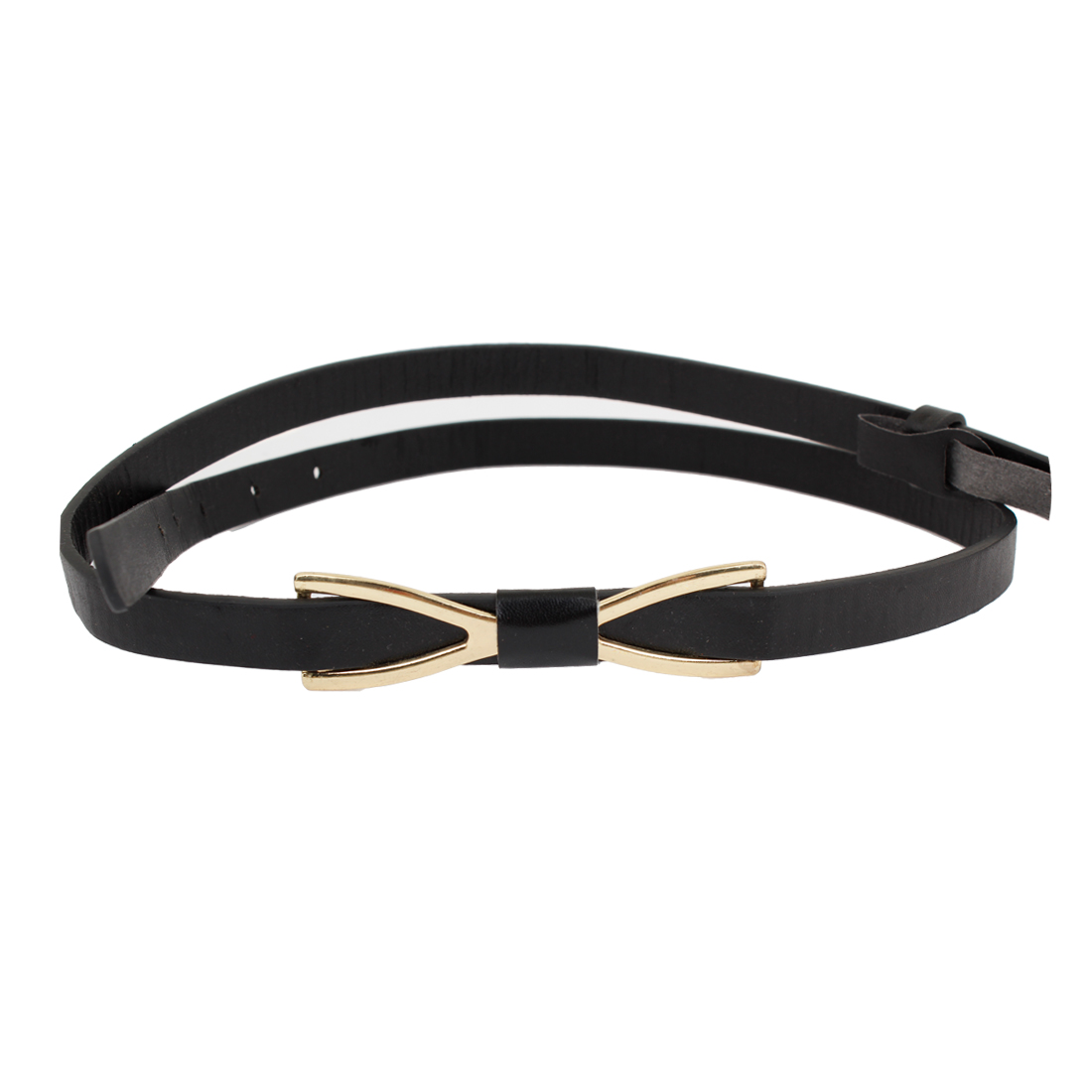 Woman Press Buckle Bowtie Accent Faux Leather Skinny Waist Belt Black