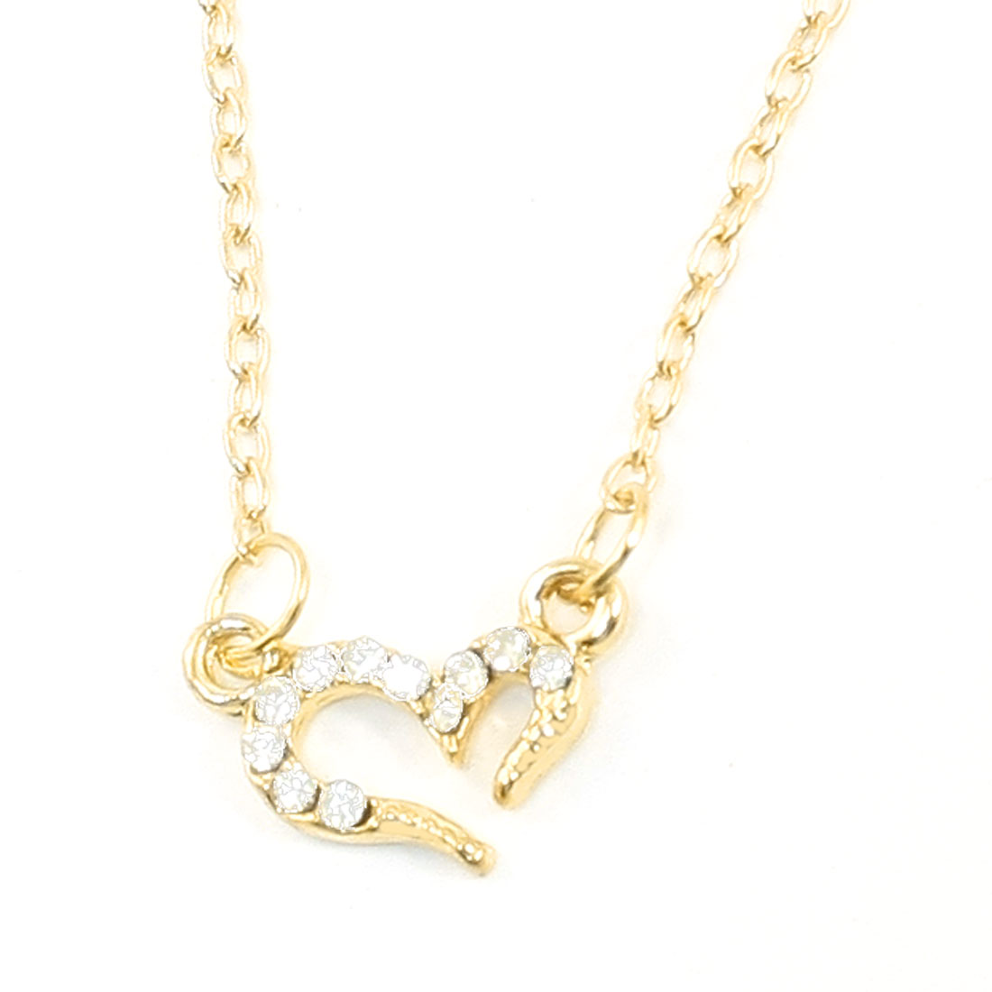 Lady Glitter Faux Crystals Inlaid Heart Pendant Gold Tone Necklace