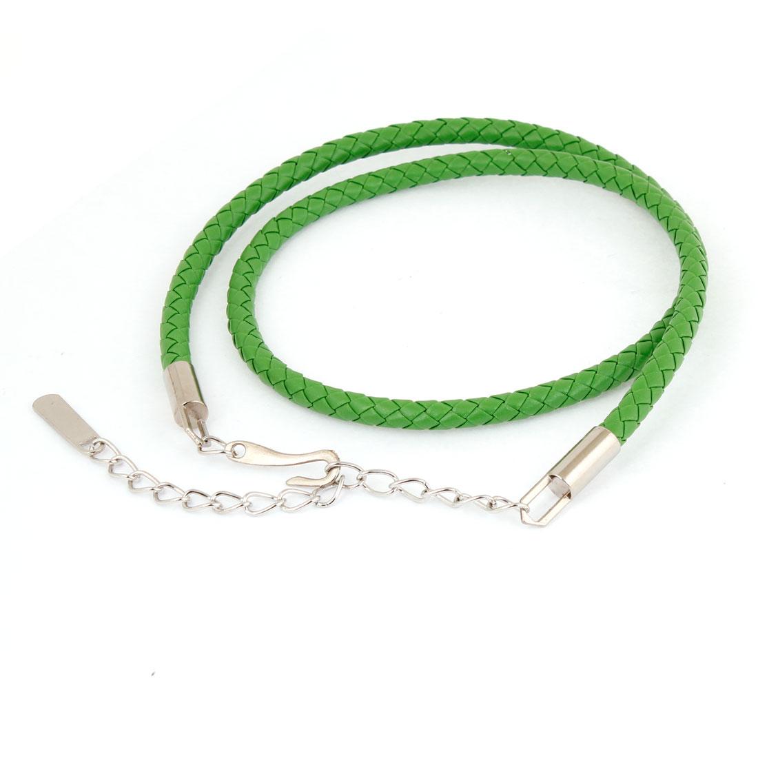 Ladies Hook Buckle Faux Leather Round Braided Waist Belt Chain Green