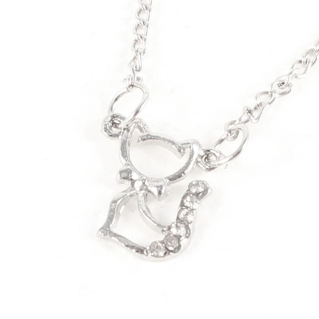 Lady Neck Decor Silver Tone Hollow Out Cat Pendant Slim Chain Necklace