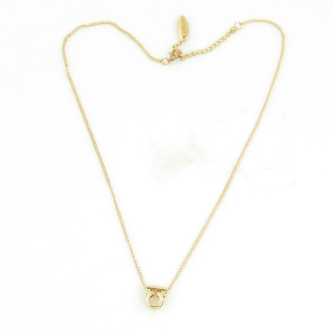 Lady Lobster Clasp Libra Sign Pendant Collarbone Zodiac Necklace Gold Tone