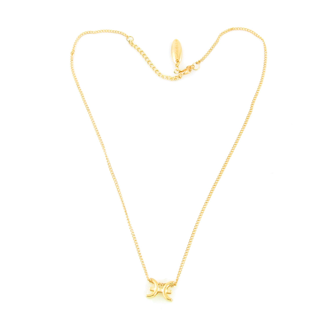 Neck Decor Cable Link Chain Pisces Zodiac Necklace Jewelry Gold Tone