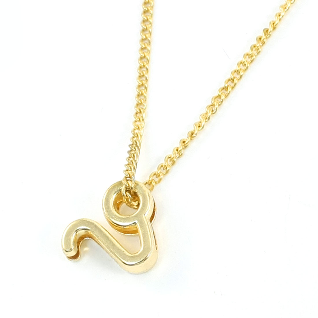 Woman Gold Tone Oval Bead Pendant Metal Leo Zodiac Necklace